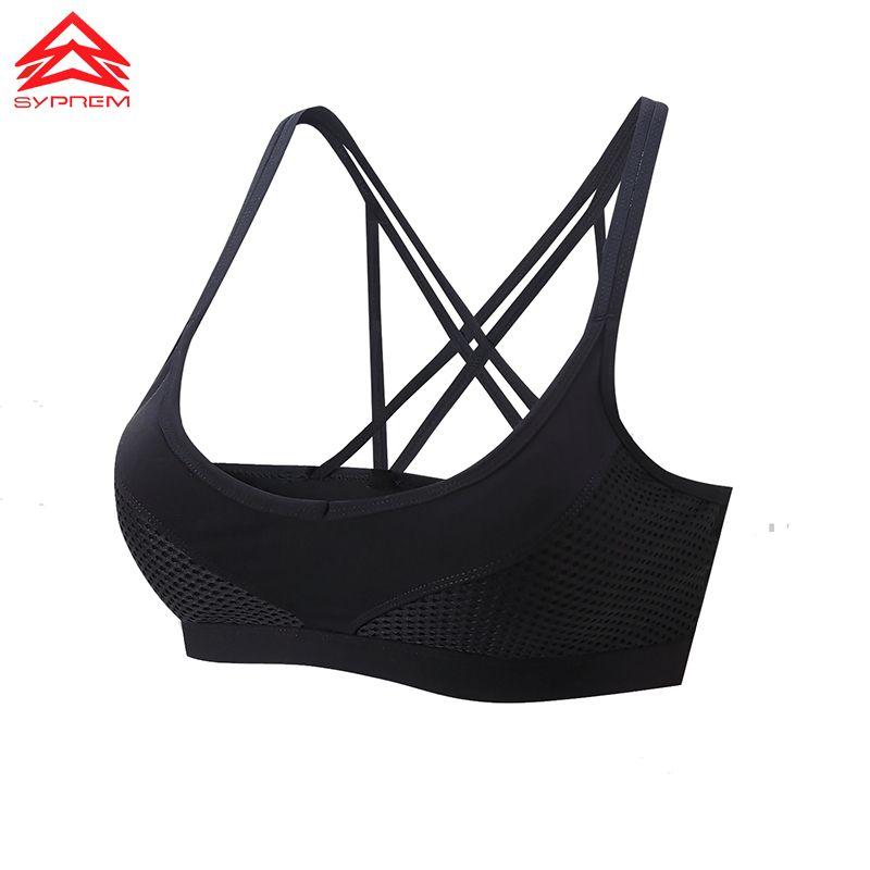 SYPREM 2017 Fitness Sports Bra without rims bra Gather bra <font><b>front</b></font> buckle back shockproof women push up yoga bra ,1FT0004