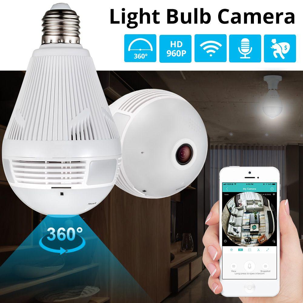 KERUI lumière LED 960P sans fil panoramique sécurité à domicile WiFi CCTV Fisheye ampoule lampe IP caméra 360 degrés sécurité à domicile cambrioleur