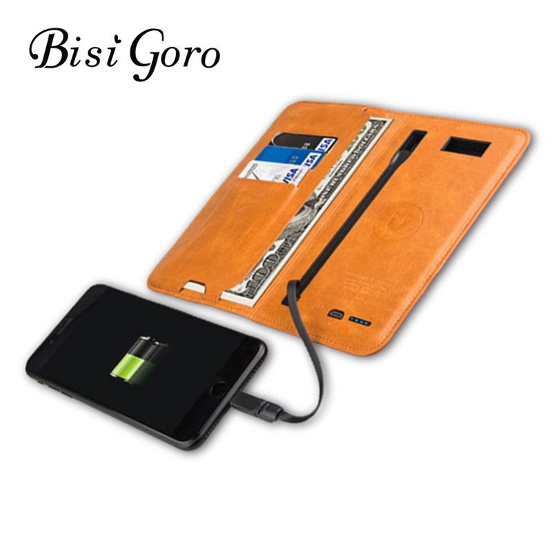 BISI GORO 2019 Men Women Long Smart Wallet Vintage With USB for Charging Wallet Adapt For Ipone And Android Capacity 6800 mAh