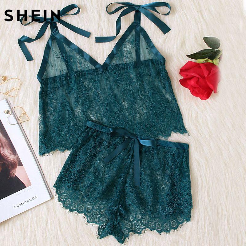 SHEIN Womens Pyjamas Sleepwear Green Spaghetti Strap Tie Shoulder V Neck Eyelash Lace Cami and Shorts Pajama Set