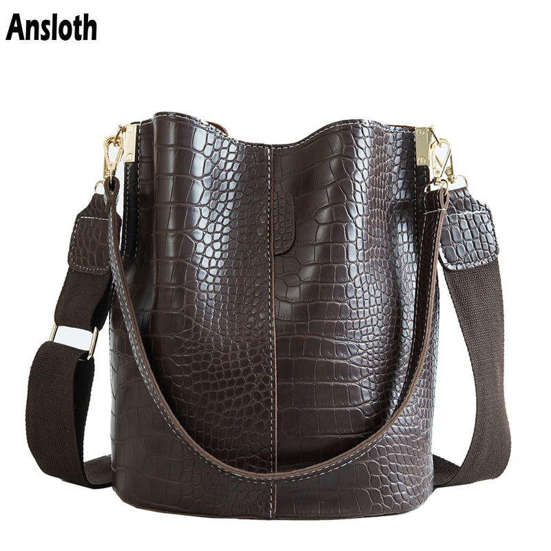 Ansloth Crocodile sac à bandoulière pour femmes sac à bandoulière marque Designer femmes sacs de luxe en cuir PU sac seau sac à main HPS405
