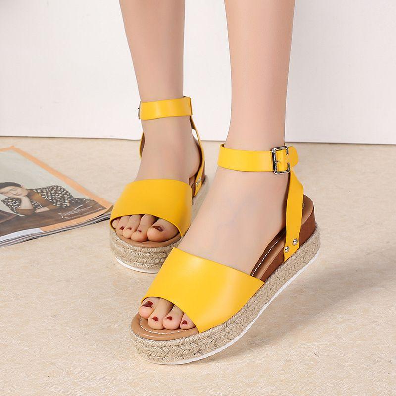 Ho Heave 2019 populaire Marine corde pente talon léger semelle sandales taille 35-40 femmes confortables sandales à boucle unique sandales