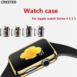 CRESTED cover For Apple Watch band 4 Case 42mm 38mm iwatch band 3 44mm/40mm protective screen protector watch Accessories shell