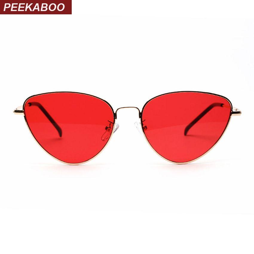 Coucou rouge cat eye lunettes de soleil femmes objectif clair lunettes de soleil pour femmes cat eye métal rose jaune uv400