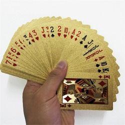 24 K Emas Bermain Kartu Poker Permainan Dek Emas Foil Poker Set Plastik Magic Kartu Tahan Air Kartu Sihir