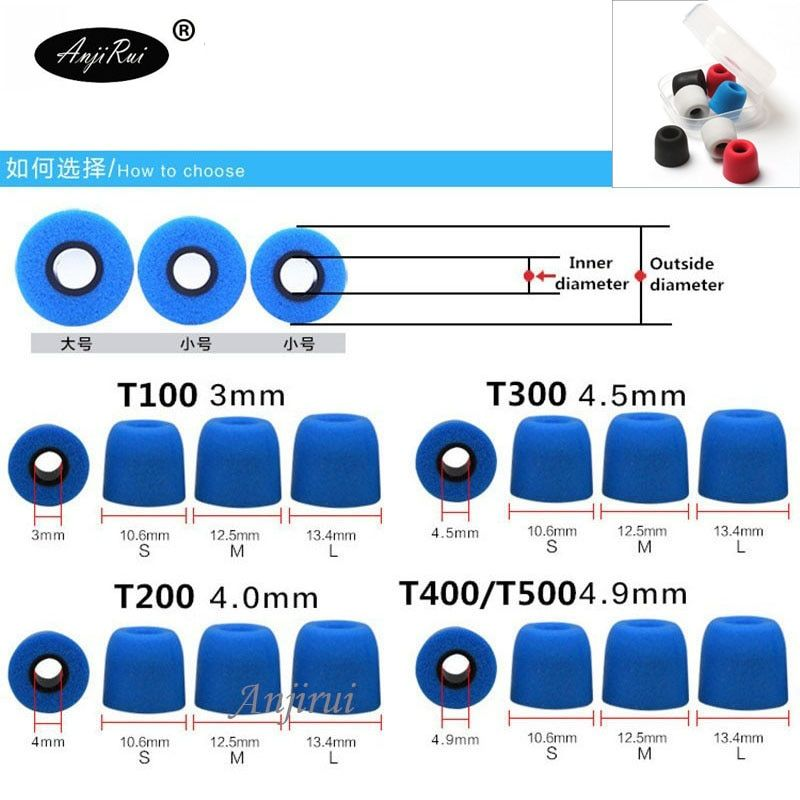100 pcs/50 pairs. T100/T200/T400/T500 (S M L ) Caliber Ear Pads/cap for ear Headphones tips Sponge Headset accessories ANJIRUI
