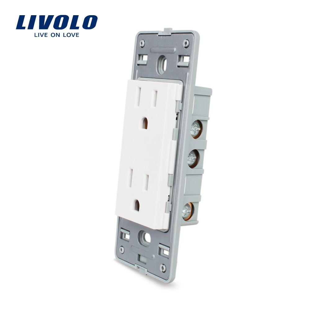 Livolo UNS standard Buchse DIY Teile, Weiß Kunststoff Materialien, Funktion Schlüssel Für UNS Steckdose, VL-C5-C2US-11/12