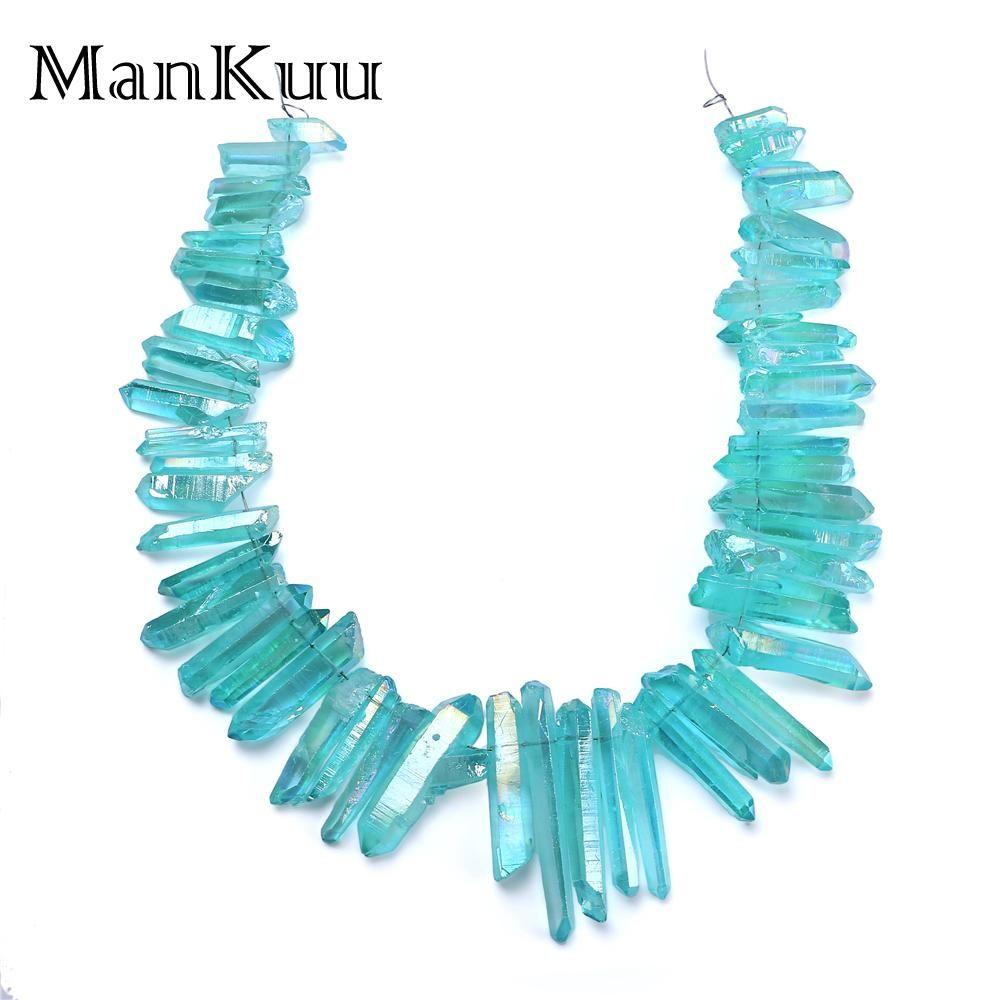 Mankuu Irrégulière Mer Bleu Cristal Pilier Gros Brin De Polissage Pierre Naturelle Perles Pour La Fabrication de Bijoux Cristal Point Amulette