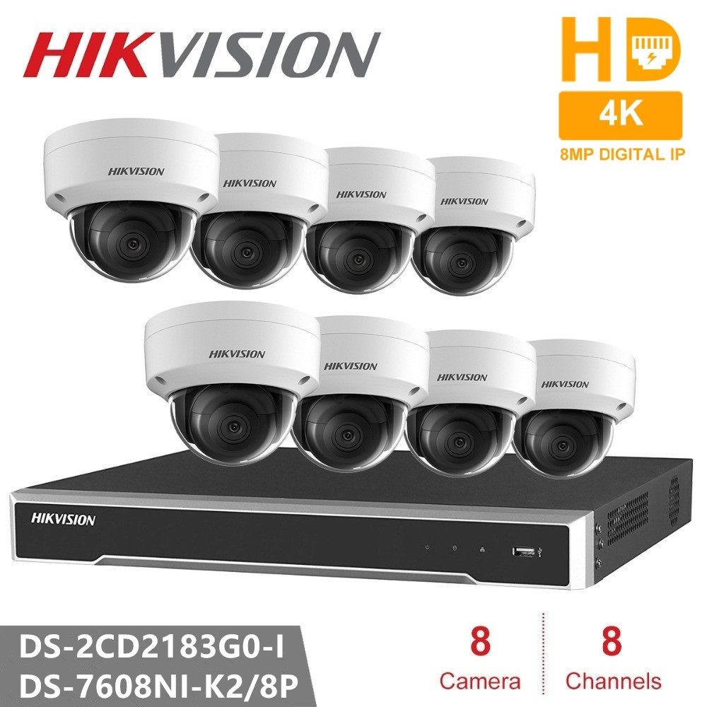 Hikvision 4 K CCTV Kamera System 8CH 8POE 4 K NVR + DS-2CD2183G0-I 8MP IP kamera Netzwerk mini Dome Sicherheit kamera POE