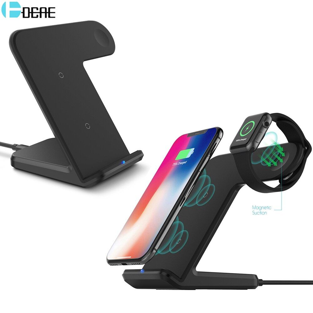 DCAE QI Wireless Charger 10W Fast Charging Holder Pad for Apple Watch AirPods iPhone 8 10 X Samsung Galaxy S9 S8 Xiaomi Mix 2s