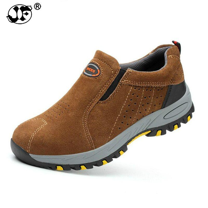 Work Shoes Men 2018 Steel Toe Safety Fashion Breathable Slip On Casual Boots Mens Labor Insurance Puncture Proof Shoe fgb467