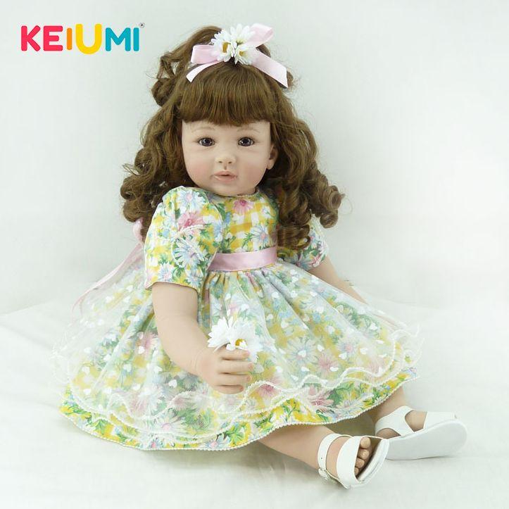 KEIUMI 24 ''60 cm Reborn Puppen Weich Vinyl Lebensechte Prinzessin Mädchen Simulation Puppe Baby Spielzeug Für Kinder Geburtstag Geschenk frühe Bildung