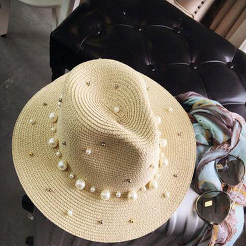 2017 New Summer British pearl beading flat brimmed straw hat Shading sun hat Lady beach hat