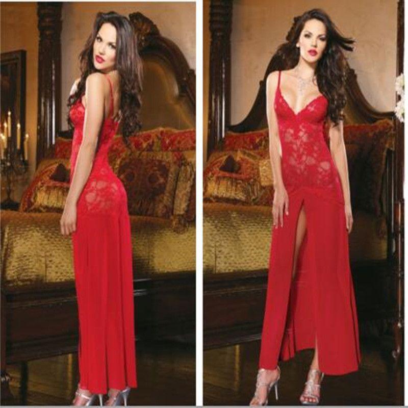 Venta caliente Negro Blanco Rojo Lingerie Babydoll Chemise ropa de Dormir Camisón Vestido Largo de Encaje Especial Diseño de Las Mujeres Ropa Interior Sexy 2 unids