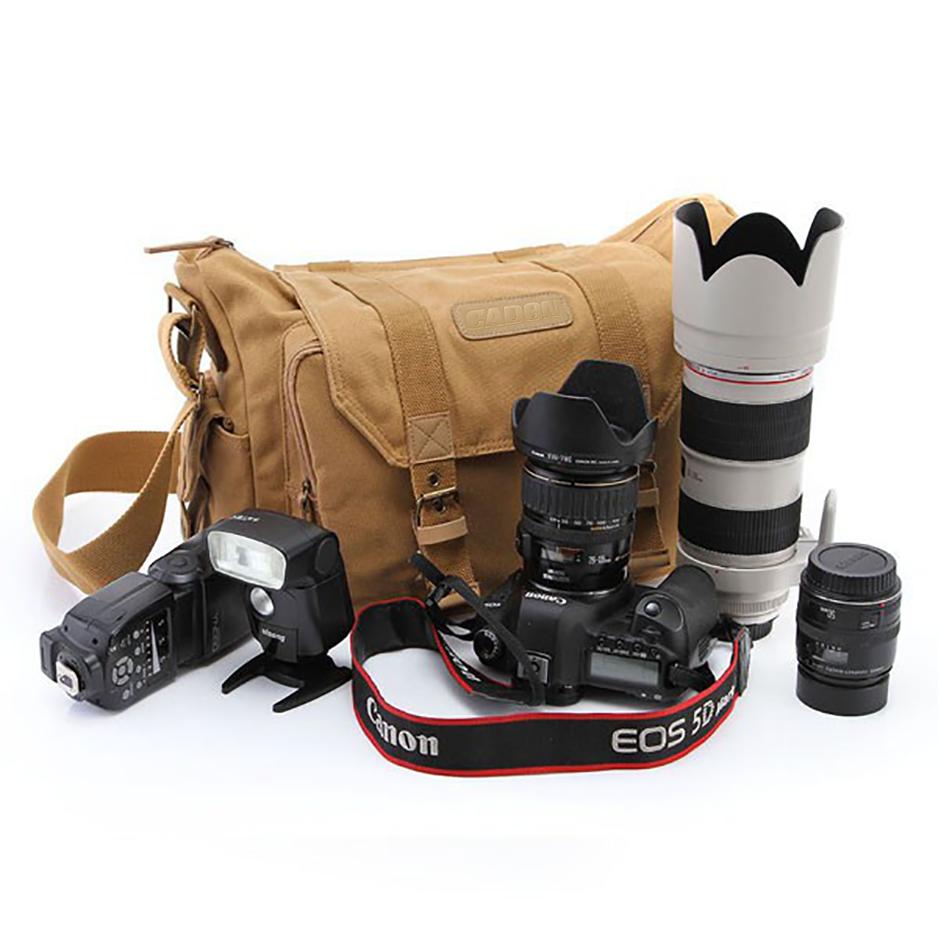 Professional DSLR Canvas Camera Bag Travel Photo Bag Single Shoulder Backpack for Sony Canon Nikon Olympus