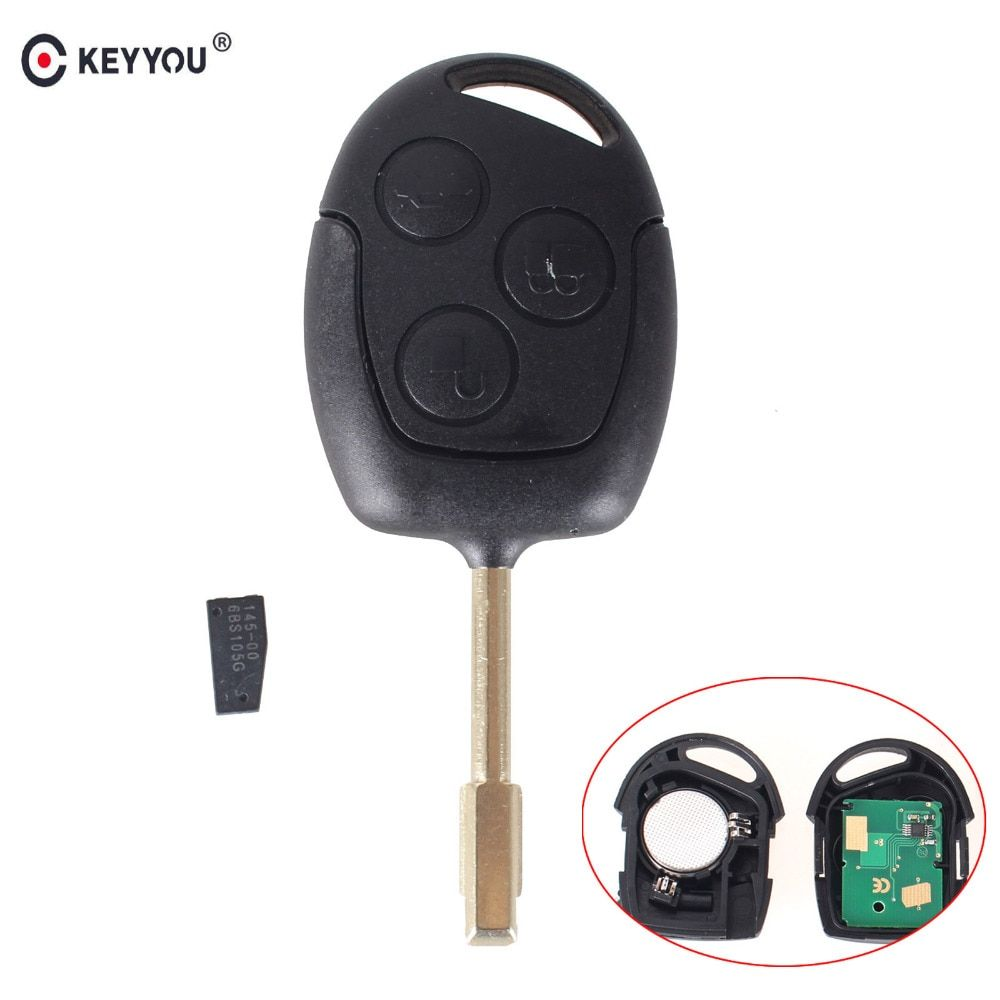 KEYYOU 3 Buttons 315/433MHZ Remote Keyless Entry Key Fob For Ford Mondeo Fiesta  Focus  Ka Transit With Chip 60 Blade FO21
