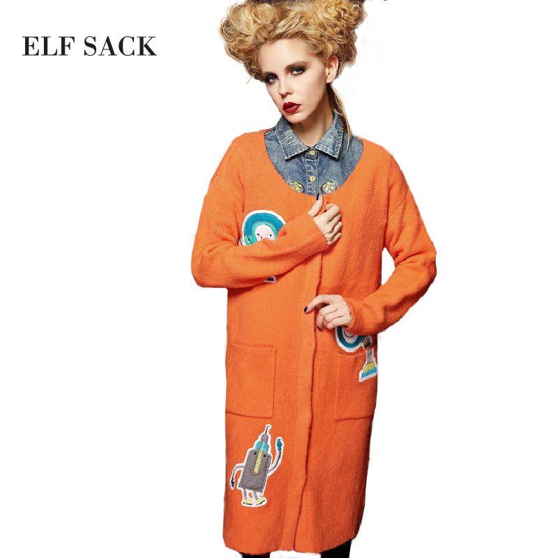 Elf sack automne tout-allumette douce de mode o-cou lâche cardigan féminin moyen-long