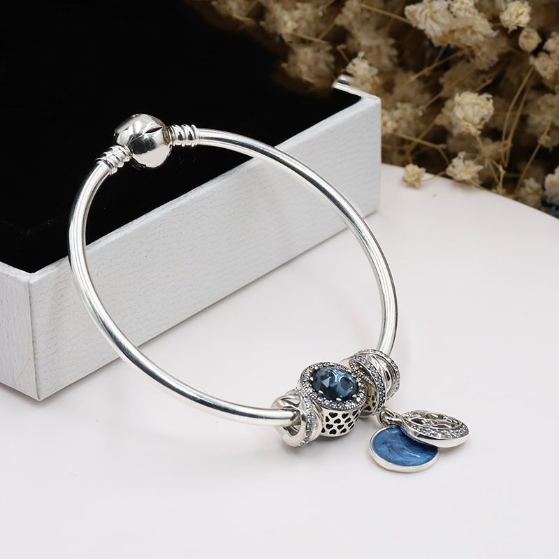 2018 Real 925 Sterling Silver Original Starry Fairy Tales Pan Bracelet Set Clear CZ Fit Women Bangle Bead Charm DIY Jewelry