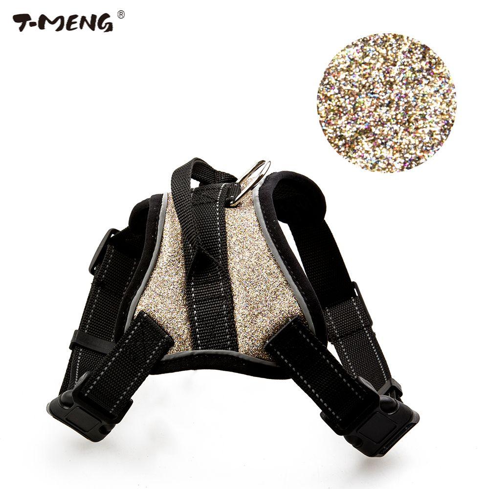 T-MENG produits pour animaux de compagnie pour chiot petit chien harnais Chihuahua sangles de poitrine gilet plomb K9 maille brillant grand chien harnais accessoires