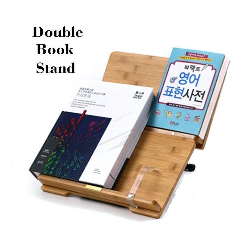 34*22 cm Las Capas Dobles Atril Atril De Bambú Natural Marco de Lectura Libro de Cocina Del Sostenedor Del Soporte de Estante de Libros
