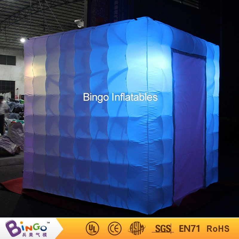 2.4x2.4 cube tube LED inflatable photo booth enclosure made in Guangzhou Inflatable factory for sale price booth toys