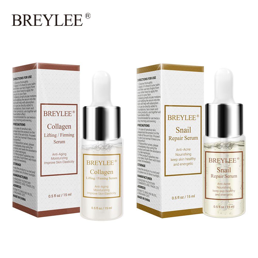BREYLEE Snail Serum Collagen Serum Repairing Lifting Firming Essence Hyaluronic Acid Moisturizing Anti-Aging Face Skin Care 1PCS