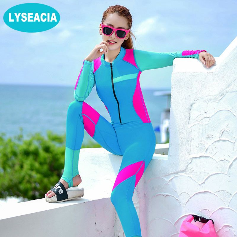 LYSEACIA Summer Women Slim Wetsuits Women One Piece Swimwear Push Up Female Surfing Diving Swimsuits Wetsuit Swimming Bodysuit