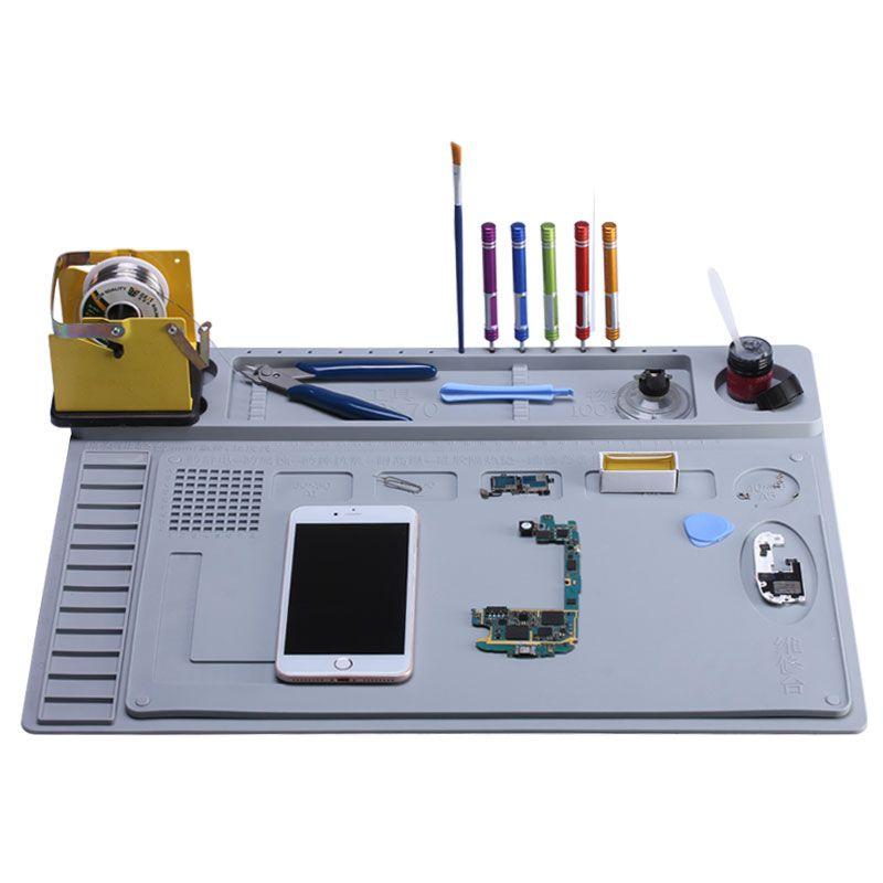 2 in 1 Heat Insulation Silicone Soldering Pad Desk Mat Maintenance Platform For BGA Soldering Repair Station