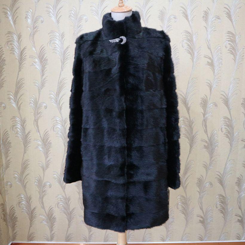 XINYUXIANG 2018 Anpassen Real nerz Mäntel Frauen Winter Mode Dicke Warme Outwear schwarz Weiblichen Natürlichen nerz Lange jacken