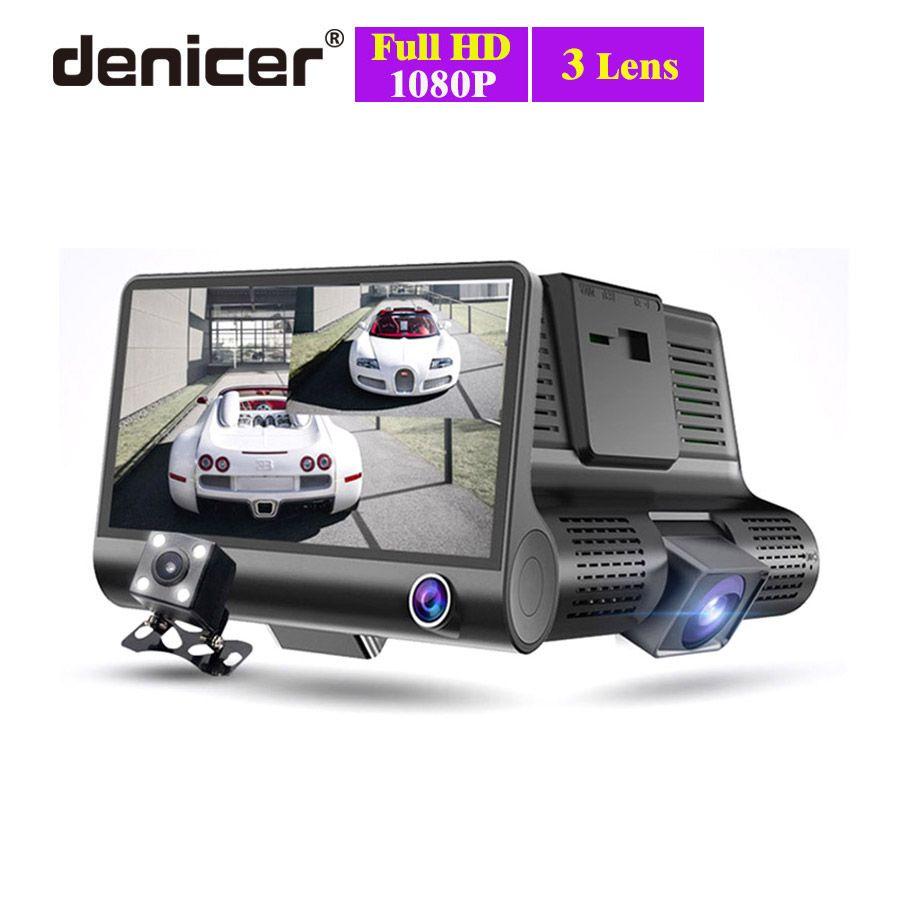 Nouveau 3 caméras voiture DVR 4 pouces IPS Dash Cam trois voies haute vitesse Full HD 1080 P conduite DVR double lentille enregistreur spécial pour voyage