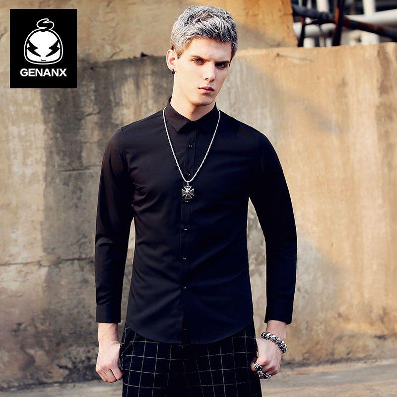GENANX Marke Mode Langärmeliges Hemd Bodenbildung Schlank Weiße Reine Business Casual Hemd Männlich Flut Größe M-XXXL
