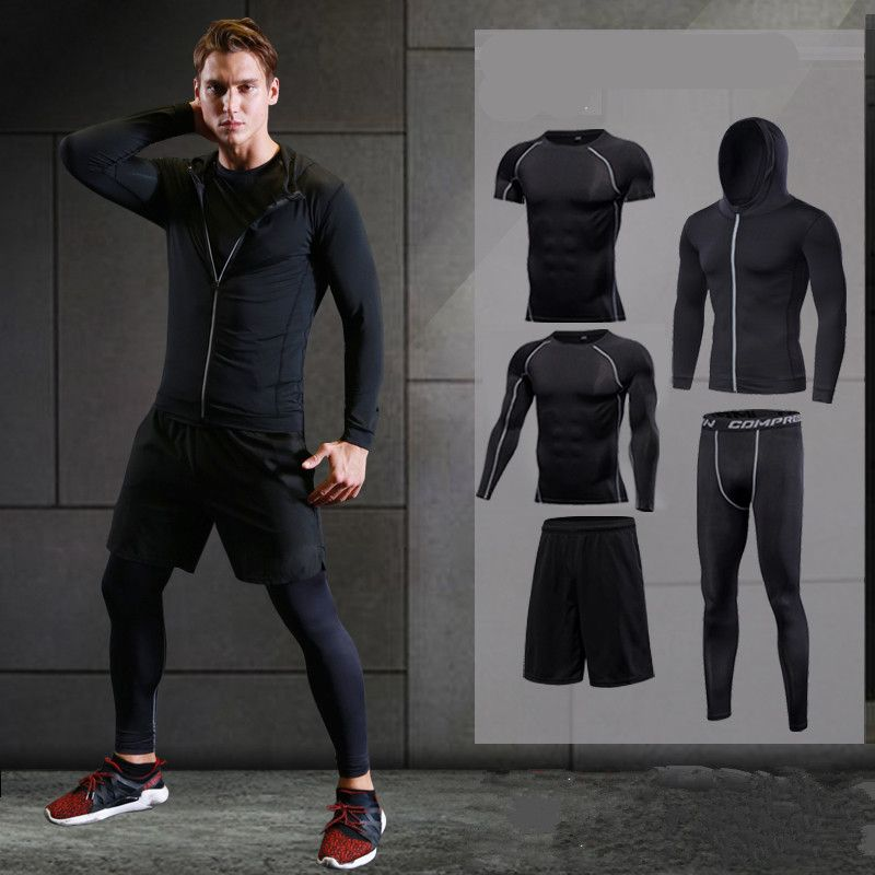 2017 running set men's sport suit compression basketball running underwear clothes men quick dry gym fitness training sport suit