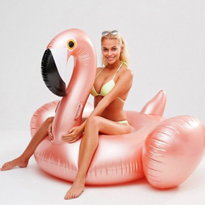 YUYU Rose Gold Inflatable Flamingo Swimming Float Tube Raft Adult Giant pool Float Swimming Ring Summer Water Fun Pool Toys