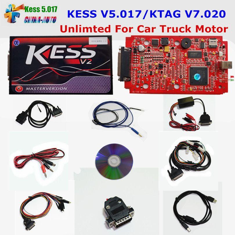 Online EU Red KESS V5.017 KESS V2 5.017 No Token KTAG V7.020 OBD2 Manager Tuning Kit K-TAG 7.020 V2.23 Car Truck ECU Programmer
