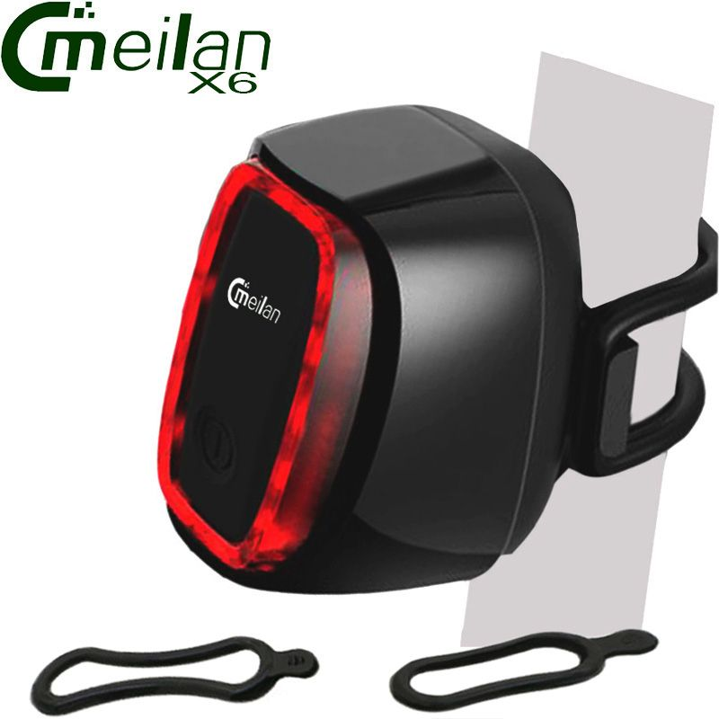 Meilan X6 Smart Bike Light Bicycle Rear led Taillight Rechargeable 16 LED USB Lantern 7 Mode <font><b>Flash</b></font> light Cycling Accessories
