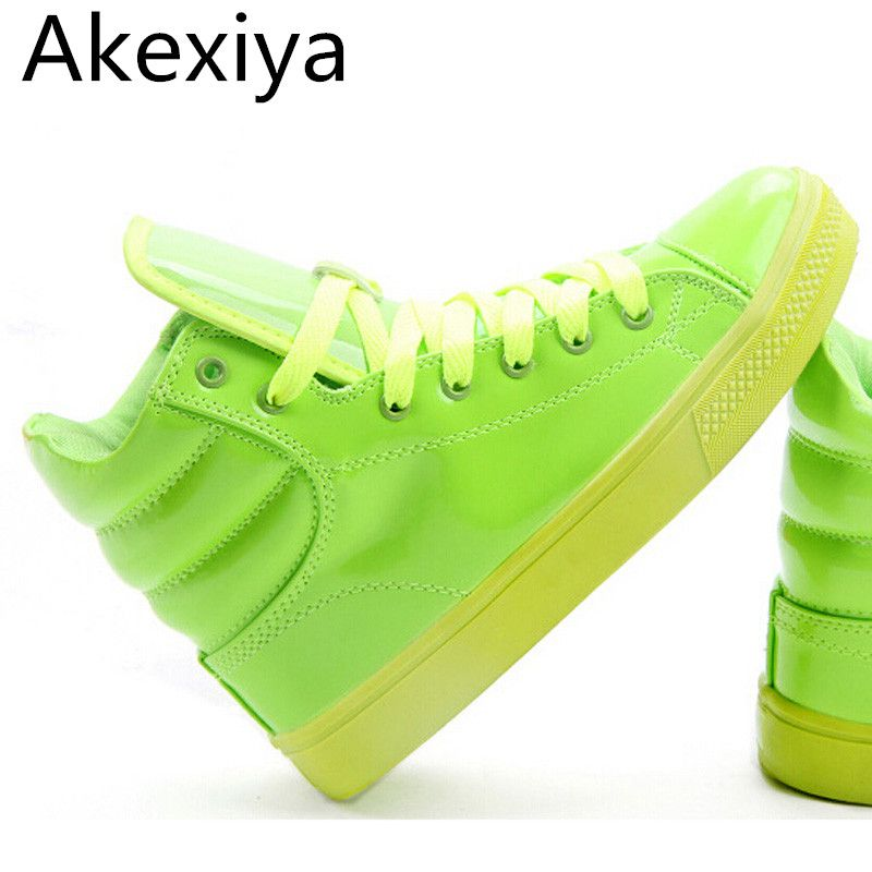 Akexiya 2017 New Arrival Lighted Candy Color High-top Shoes Men Unisex Fashion Shoes Flat Platform Shoes Couple Shoes XWB001