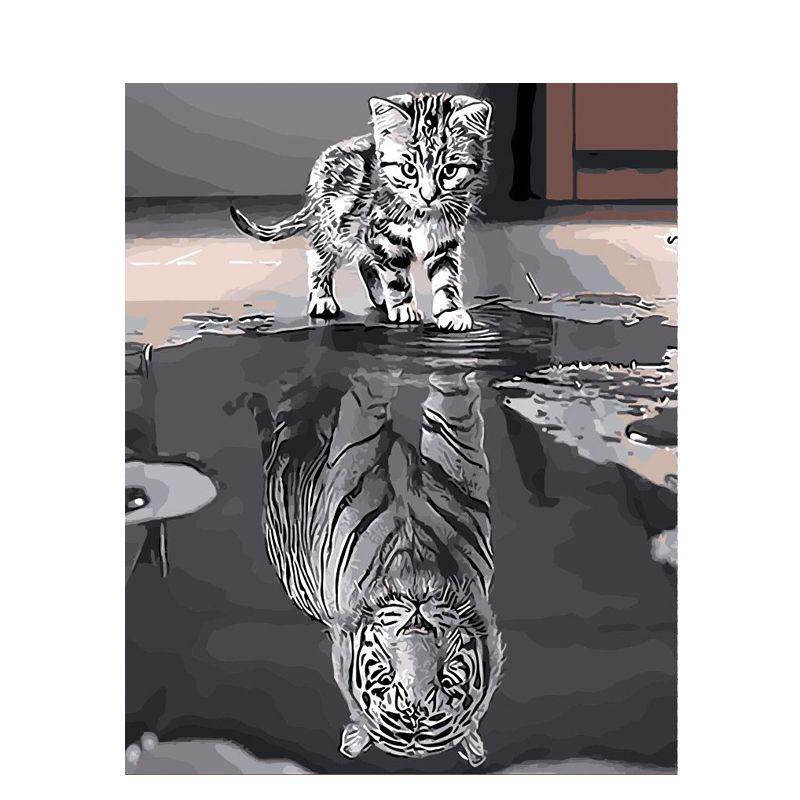 Peinture par numéros bricolage livraison directe 40x50 50x65cm réflexion chat Animal toile mariage décoration Art photo cadeau