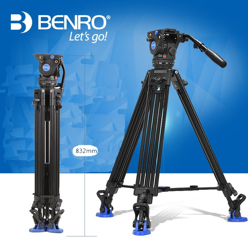 Benro BV6 Video Tripod Professional Auminium Camera Tripods BV6 Video Head QR13 Plate Carrying Bag DHL Free Shipping