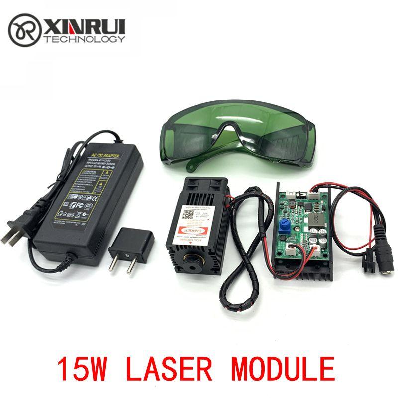 450nm 15000 mW 12 V High Power TTL Einstellbarer Fokus Blau Laser Modul DIY Laser stecher zubehör 15 W laser kopf