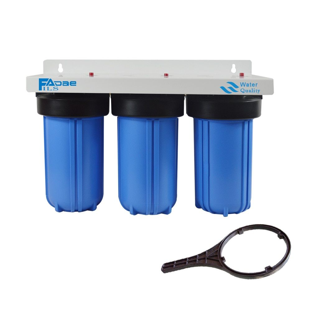 Whole House 3-Stage Big Blue Water Filter System with Sediment, Activated Carbon and Carbon Block Replacement Filters-10