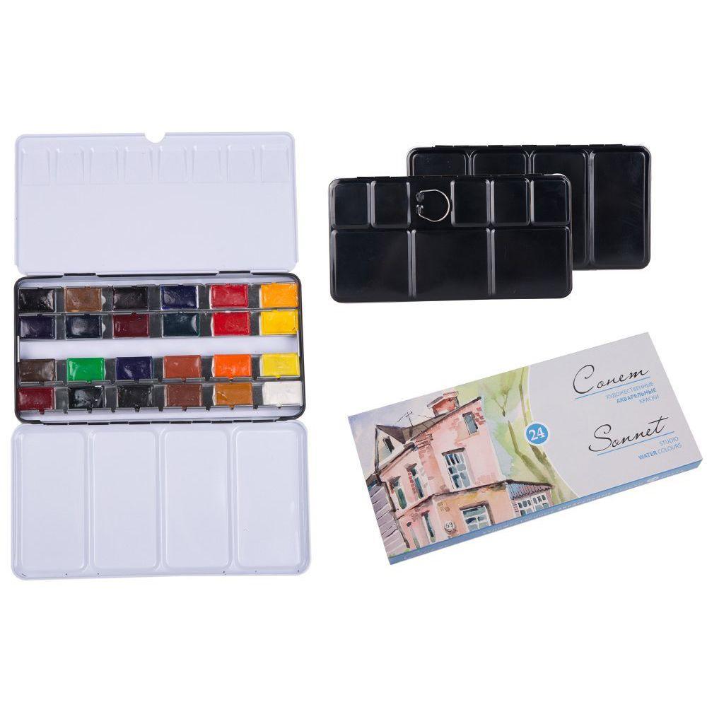 MEEDEN ensemble de peinture aquarelle de qualité-nuits blanches Sonnet 24 couleurs dessin d'école pour artiste dessin peinture fournitures