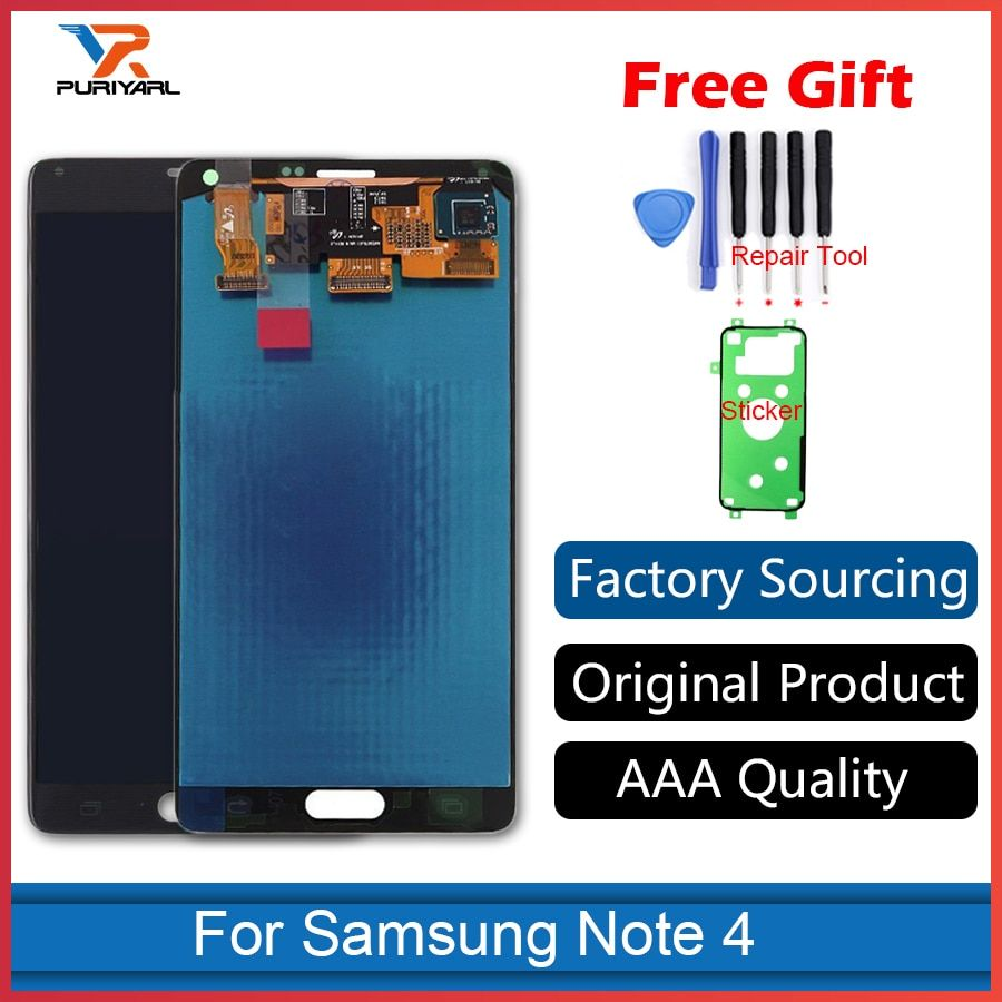 100% Original Super AMOLED Pantalla For Samsung Galaxy Note 4 N910 N910F LCD Display Screen Touch Screen Assembly Replacement
