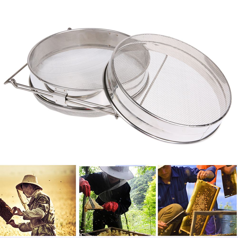 Stainless Steel Honey Filter Double Sieve Square brackets Honey Filter High Quality Beekeeping Honey Collection Equipment