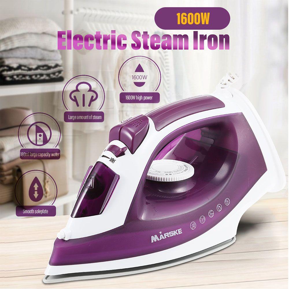 MARSKE 1600 Watt Leistungsstarke Elektrische Garment Steamer Dampfbügeleisen Für Kleidung Nonstick Bügelsohle 5 Pegel Einstellbare Temperatur Nass Trocken