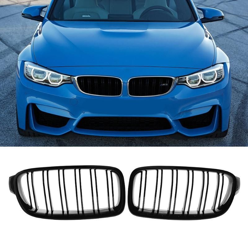 VODOOL 1 Pair Car Decorative Accessory Front Kidney Grille for BMW F30 F35 12-15 Car Racing Grille Black High Quality
