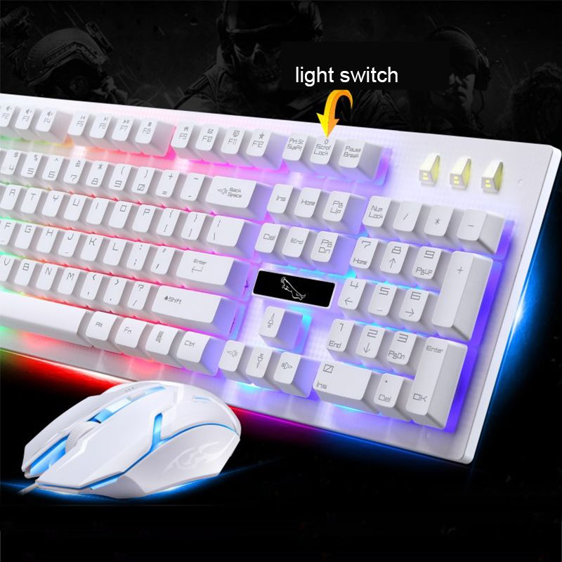 PARASOLANT Wired USB PC Gamer Suspension Mechanical Feel Keyboard And Mouse Set Photoelectric Laptop Computer Backlit Keyboard