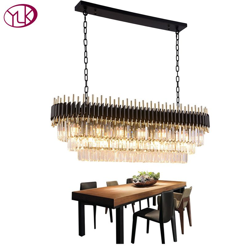 Youlaike Modern Crystal Chandelier For Dining Room Luxury Kitchen Island Hanging Lighting Fixtures Black LED Cristal Lustres