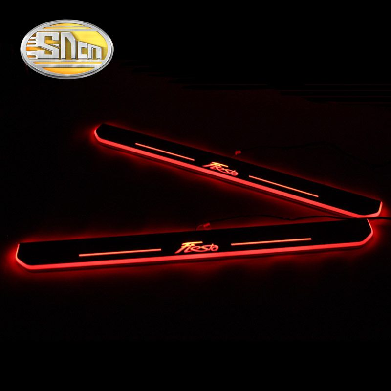 SNCN 4PCS Acrylic Moving LED Welcome Pedal Car Scuff Plate Pedal Door Sill Pathway Light For Ford Fiesta 2015 2016 2017 2018