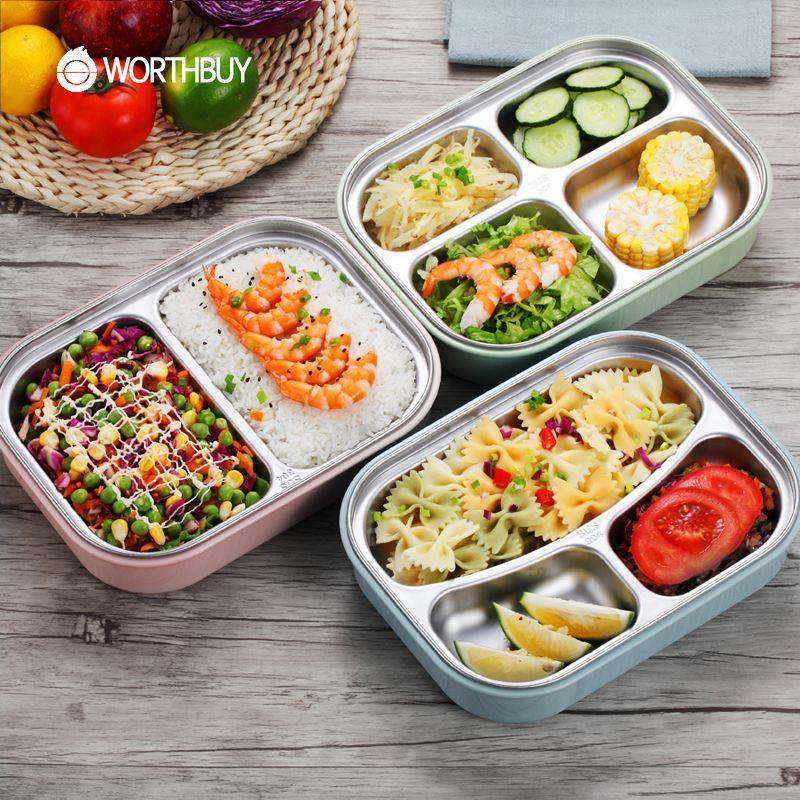 Worthbuy 304 Нержавеющаясталь японский Коробки для обедов с отделениями печь Bento Box для детей школьные Пикник Еда контейнер