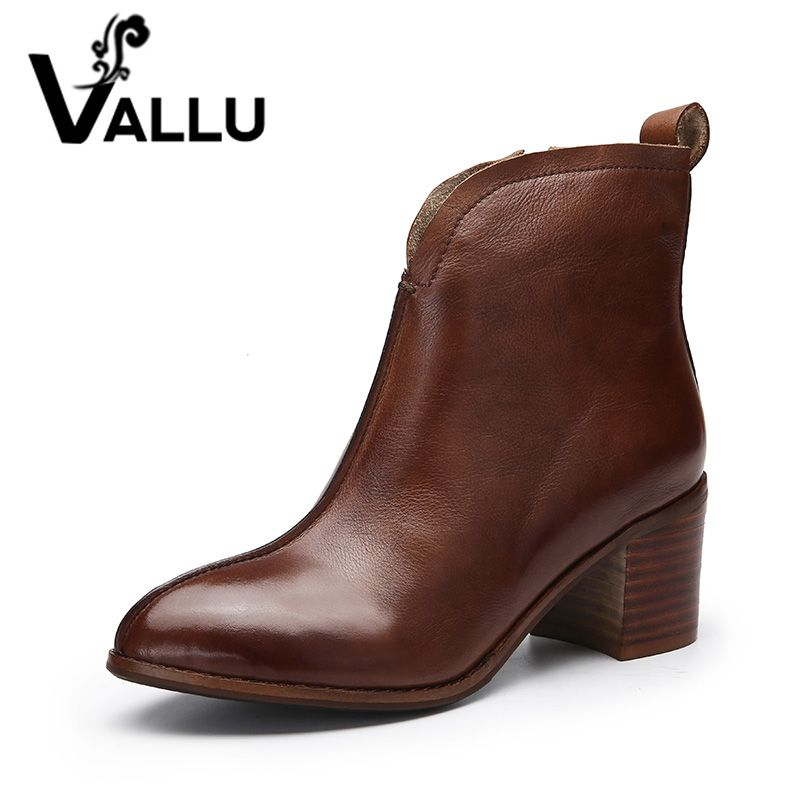 VALLU 2018 Handmade Women Shoes Ankle Boots High Heels High Qualiy Zip Genuine Leather Ladies Boots